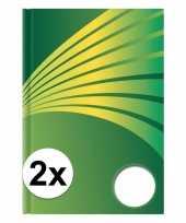 Feest 2x luxe schrift a4 formaat groene harde kaft