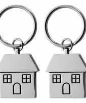 Feest 2x nieuw huis sleutelhanger