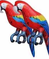 Feest 2x opblaasbare ara papegaaien vogels 25 cm decoratie speelgoed