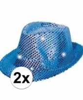 Feest 2x pailletten hoedjes blauw met led licht