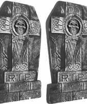 Feest 2x rest in peace doodskist grafstenen 50 cm