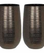 Feest 2x ronde vazen bloempotten gabriel 21 x 35 cm brons keramiek