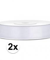 Feest 2x satijn sierlint wit rollen van 25 meter x 12 mm