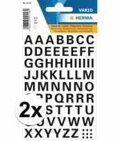 Feest 2x stickervellen letters zwart 10mm 65x
