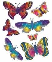 Feest 2x vellen met kinder raamstickers vlinders