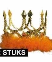 Feest 2x verkleed kroon goud met oranje stenen en veren