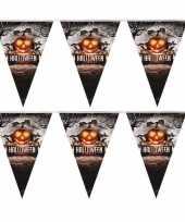 Feest 2x vlaggenlijn slinger pompoen 250 cm halloween decoratie