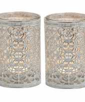 Feest 2x waxinelicht theelicht houders zilver antiek 12 cm