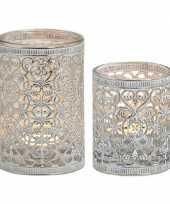 Feest 2x waxinelicht theelicht houders zilver antiek 7 en 12 cm
