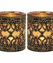 Feest 2x waxinelicht theelicht houders zwart goud antiek 10 cm