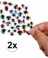 Feest 2x wiebel oogjes met gekleurde oogleden 30 stuks