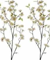 Feest 2x witte sakura kersenbloesem kunsttakken kunstplanten 112 cm