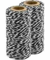 Feest 2x zwart wit bakkerstouw 50 meter hobby materiaal
