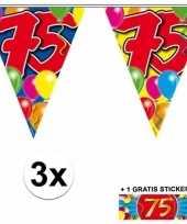Feest 3 gekleurde slinger 75 jaar met sticker