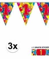 Feest 3 gekleurde slinger s 1 jaar met sticker