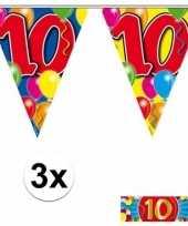 Feest 3 gekleurde slingers 10 jaar met sticker