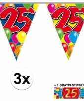 Feest 3 gekleurde slingers 25 jaar met sticker