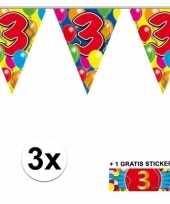 Feest 3 gekleurde slingers 3 jaar met sticker