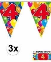 Feest 3 gekleurde slingers 4 jaar met sticker
