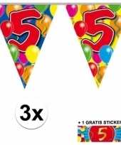 Feest 3 gekleurde slingers 5 jaar met sticker
