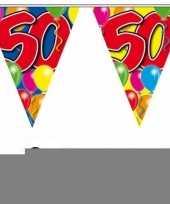 Feest 3 gekleurde slingers 50 jaar met sticker