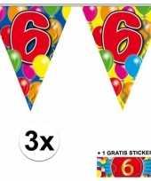 Feest 3 gekleurde slingers 6 jaar met sticker