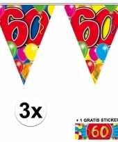 Feest 3 gekleurde slingers 60 jaar met sticker
