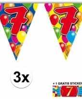 Feest 3 gekleurde slingers 7 jaar met sticker