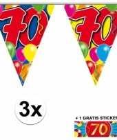 Feest 3 gekleurde slingers 70 jaar met sticker