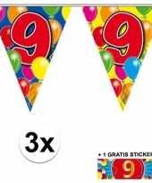 Feest 3 gekleurde slingers 9 jaar met sticker