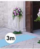 Feest 3 meter lichtblauwe decoratie loper 1 meter breed