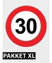 Feest 30 jarige verkeerbord decoratie pakket xl