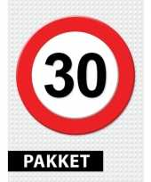 Feest 30 jarige verkeerbord decoratie pakket