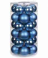 Feest 30x blauwe glazen kerstballen 6 cm glans en mat