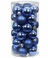 Feest 30x blauwe kleine glazen kerstballen 4 cm glans en mat
