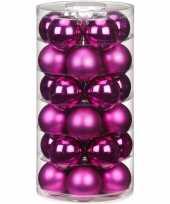 Feest 30x fuchsia glazen kerstballen 6 cm glans en mat