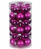 Feest 30x fuchsia roze kleine glazen kerstballen 4 cm glans en mat