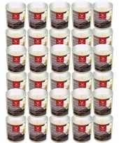 Feest 30x geurkaarsen anti tabak vanille in glazen houder 25 branduren