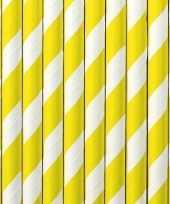 Feest 30x papieren rietjes geel wit gestreept