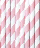 Feest 30x papieren rietjes lichtroze wit gestreept