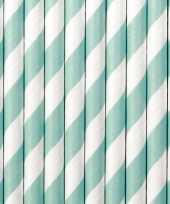 Feest 30x papieren rietjes mintgroen wit gestreept
