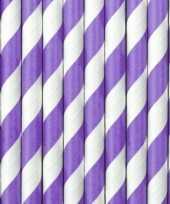 Feest 30x papieren rietjes paars wit gestreept