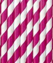 Feest 30x papieren rietjes roze wit gestreept