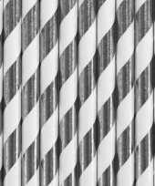 Feest 30x papieren rietjes zilver wit gestreept