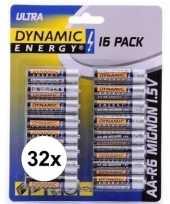 Feest 32x dynamic energy aa batterijen