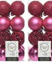 Feest 32x fuchsia roze kerstballen 6 cm kunststof mix