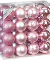 Feest 32x mix roze kunststof kerstballen 7 cm mat glans