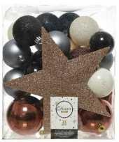 Feest 33x blauw champagne bruine kerstballen met piek 5 6 8 cm