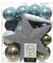 Feest 33x blauw wit bruine kerstballen met piek 5 6 8 cm kunststof