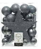 Feest 33x grijsblauwe kerstballen met ster piek 5 6 8 cm kunststof mix